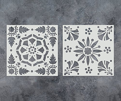 GSS Designs Pack of 2 Stencils Set 12x12 inch Reusable Template for Painting on Wood, Walls, Fabric, Airbrush, Furniture, Floor, Tiles and More (SL-011) by G GSS Designs