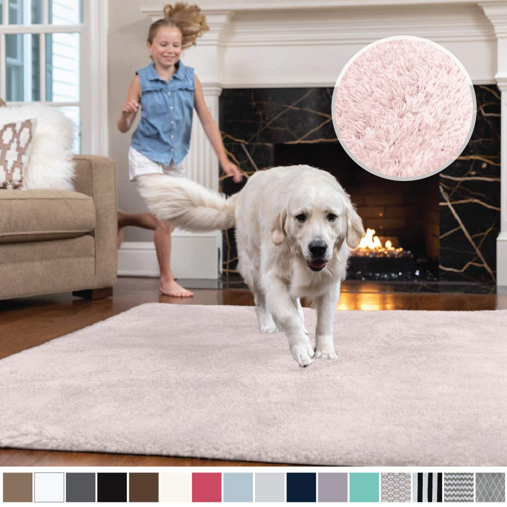 Gorilla Grip Original Faux-Chinchilla Area Rug, 5x7 Feet, Super Soft and Cozy High Pile Washable Carpet, Modern Rugs for Floor, Luxury Shag Carpets for Home, Nursery, Bed and Living Room, Pale Pink