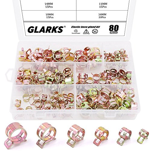 Glarks 80Pcs Spring Band Type Clips Air Hose Tube Water Pipe Fuel Pipe Silicone Vacuum Hose Clamp Fasteners Assortment Kit (7mm 10mm 11mm 14mm 16mm 17mm) ()