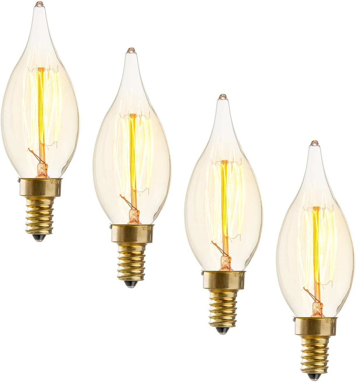 12x 40W Antique Vintage /'Z/' Filament Dimmable Amber Candle Light Bulb BC B22