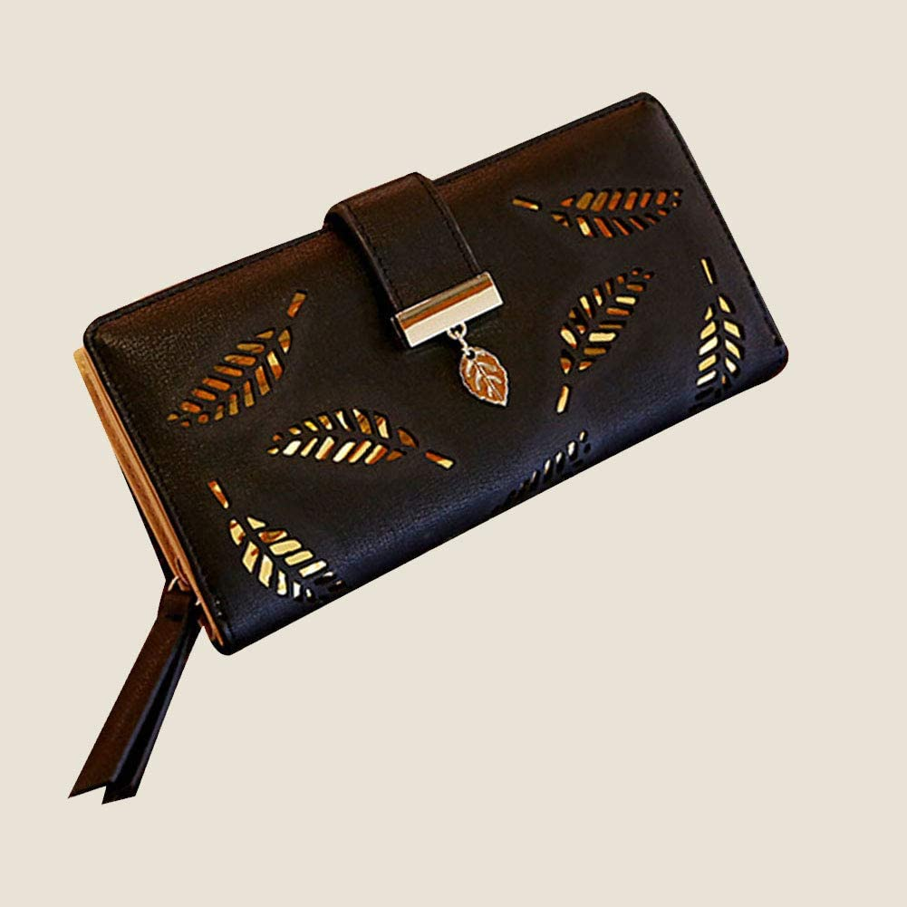 TrifyCore Portefeuille femme mode Long Clutcheaf Zipper Boucle Wallet Card Porte-sac /à main dembrayage Noir 1pc