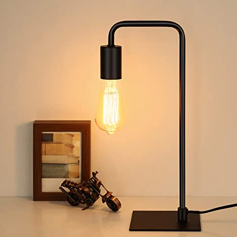 Amazon Com Haitral Industrial Desk Lamp Vintage Style Black Table Lamp For Office Small Nightstand Lamp For Bedroom Bedside Dorm Room Home Improvement