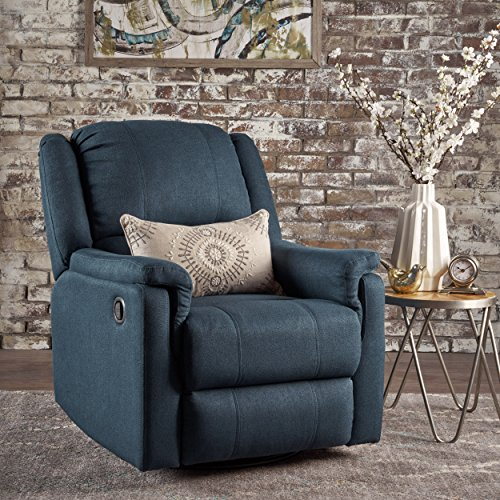GDF Studio Jemma Tufted Fabric Swivel Gliding Recliner Chair (Navy Blue)