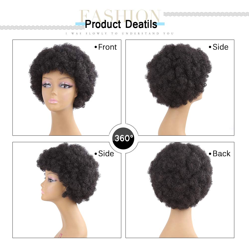 Amazon.com : Amir Kinky Curly Afro Wig Synthetic Hair Short Black Wigs For Women Mens Wig African Pelucas Cosplay Wig Jet-black 6inches : Beauty