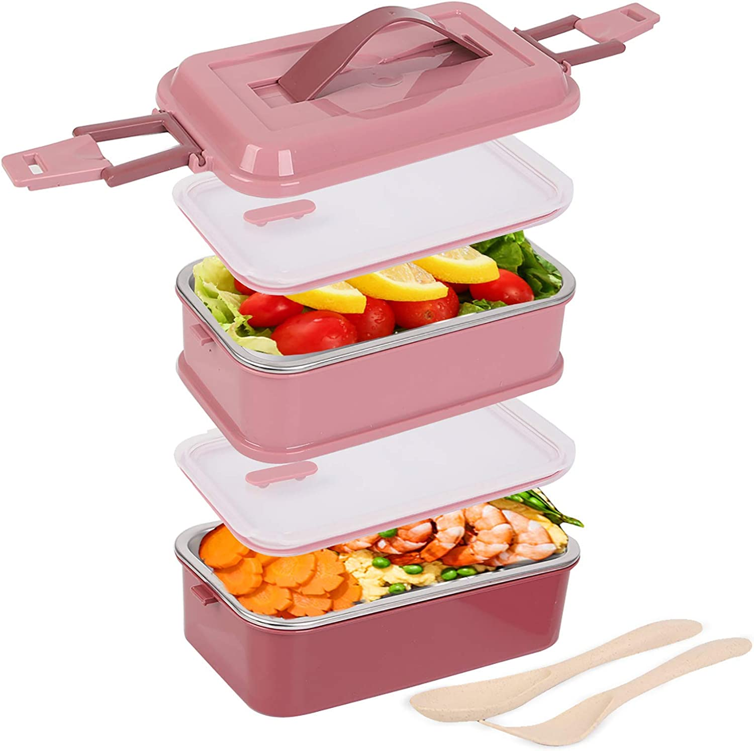 Stainless Steel Lunch Bento Box Food Storage 2 Square Containers for Women Men, BPA Free Leak Proof with Fork and Spoon for Picnic, Office (Pink)
