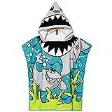 VSTON Asciugamano con cappuccio in cotone per bambini, bagno, nuoto, vacanza in spiaggia Soffice, asciugamano in cotone leggero con ragazze (modello squalo)