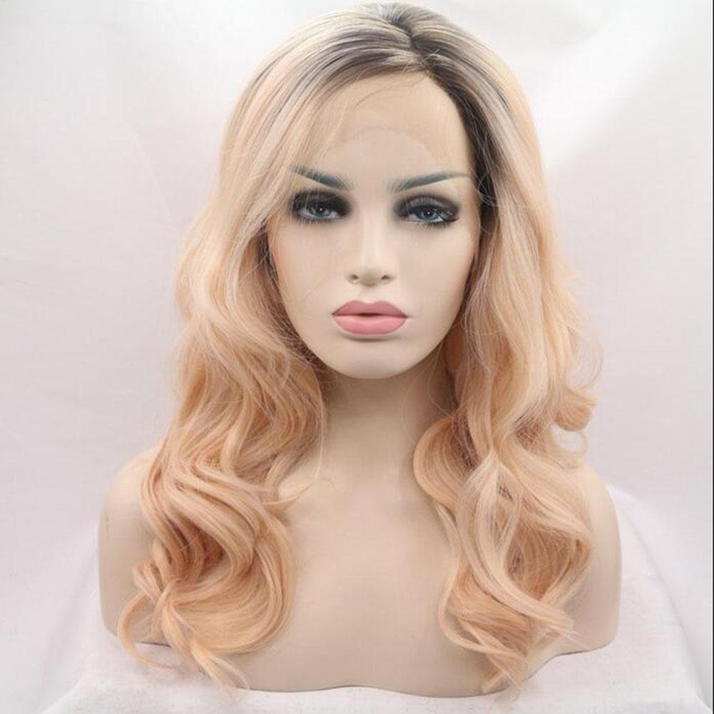 XUAN Lady Woman Daily Wig The Lace Wig Can Straighten The Roll Heat Resistant Temperature Silk Wavy 60cm