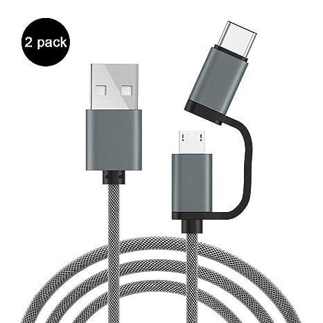 ZXGHS Cable de Datos Micro USB/Type-C 2-en-1, Cargador ...