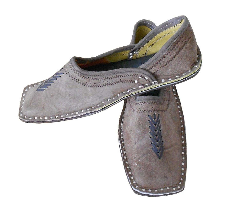 kalra Creaciones Hombres de Piel de Tradicional Indio Para Hombre Zapatos, Color Marrón, Talla 41.5 EU