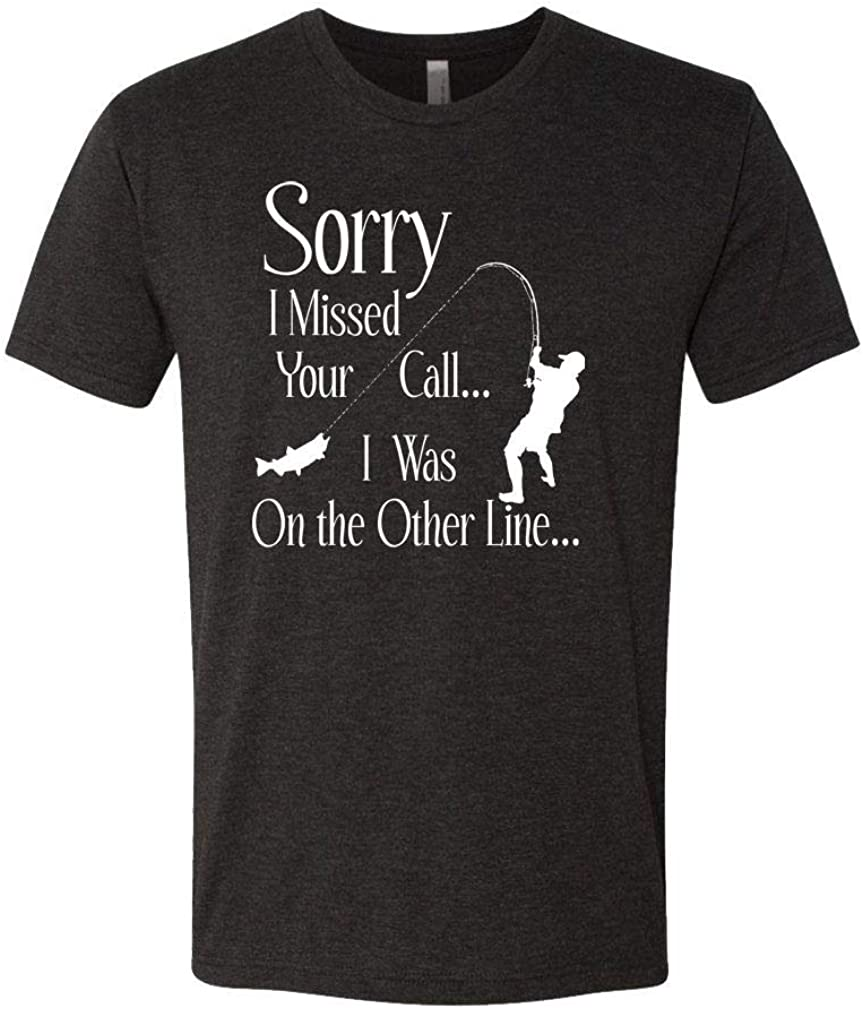 Mens Cotton T-Shirt Other line Fish The Goozler Sorry I Missed Your Call