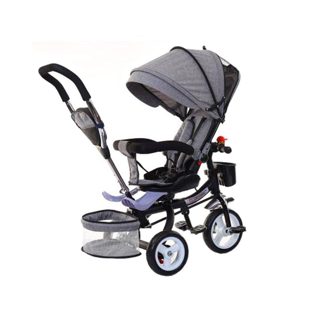KANGR-子ども用自転車 多機能Foldable子供の三輪車キッドトロリープッシュハンドルストール自転車アンチUV天井3ホイールBike | 1-3-6歳の少年と少女のために|ロータリー席|グレー ( 色 : C型 cがた ) B07BTWX5SL C型 cがた C型 cがた