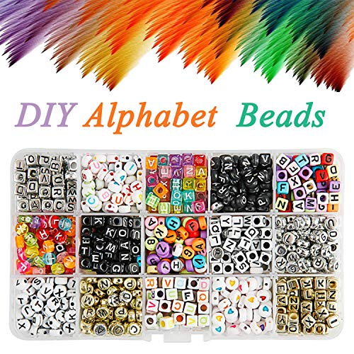 Alphabet Beads 1100pcs Mixed Acrylic Plastic Beads Assorted Color Alphabet Letter