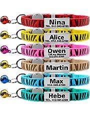 TagME Collares de Gato Personalizados con Placa de Nombre/Collares de Perro pequeños con Nombre, número de teléfono, número de Microchip/Patrón de Cebra/Blanco