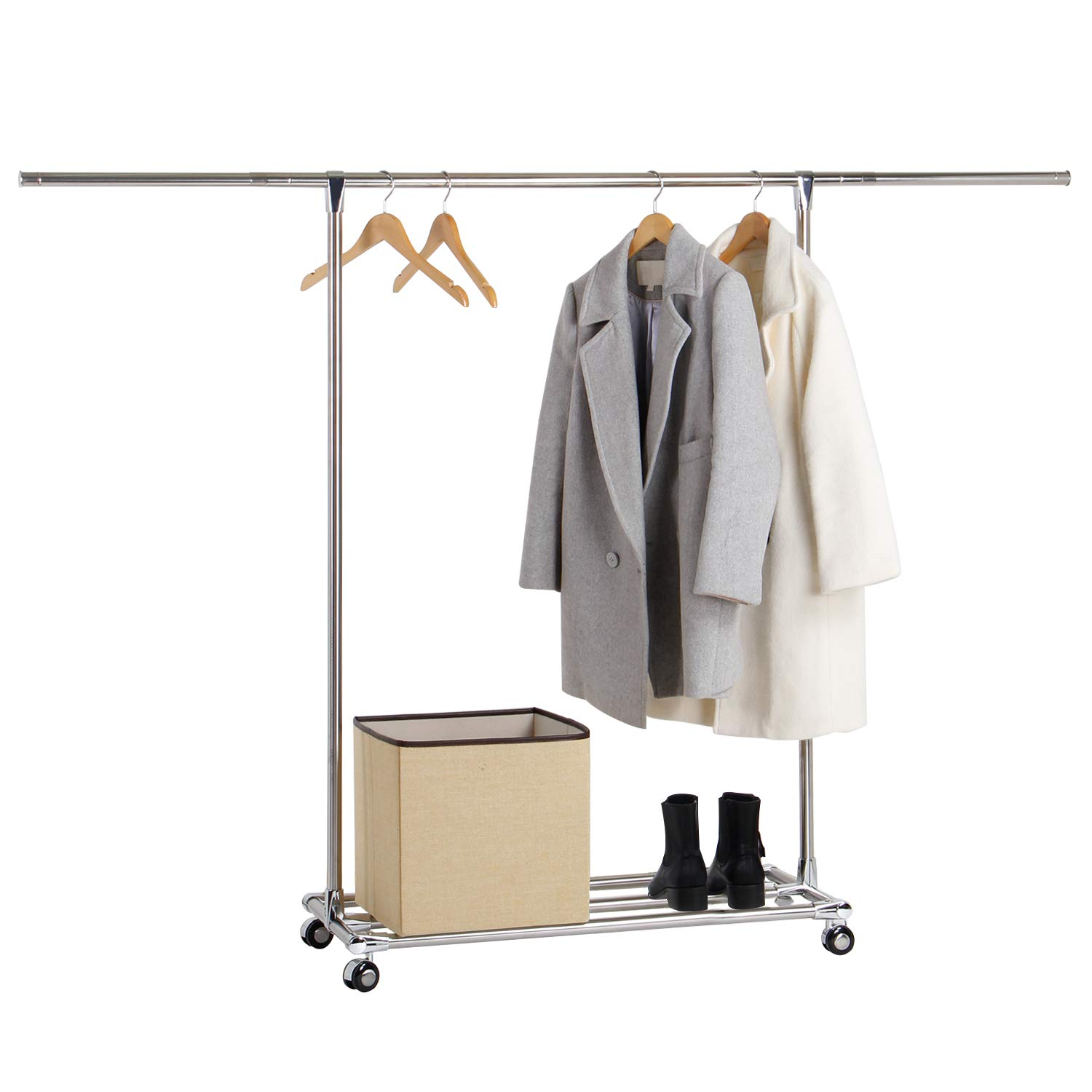Lifewit Adjustable Clothes Rail Heavy Duty Garment Rail Rolling Clothing Rack Storage with Shoe Rack , Stainless Steel