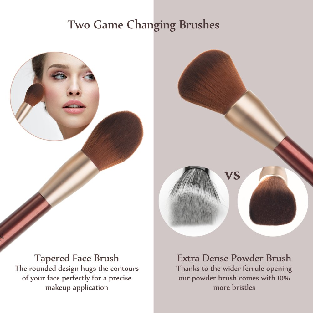 Makeup Brushes, Anjou 16pcs Makeup Brush Set, Premium Cosmetic Brushes for Foundation Blending Blush Concealer Eye Shadow, Cruelty-Free Synthetic Fiber Bristles, PU Leather Roll Clutch Included, Rose: Beauty