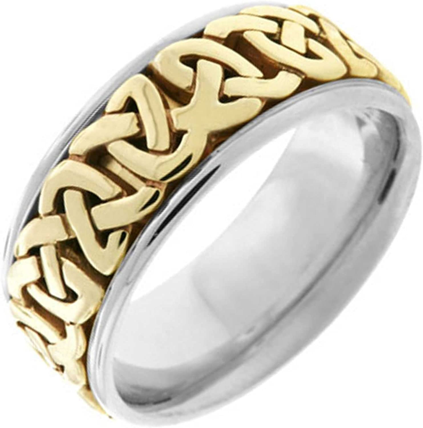 14K Two Tone (White and Yellow) Gold Celtic Love Knot Men's Comfort Fit Wedding Band (8.5mm)