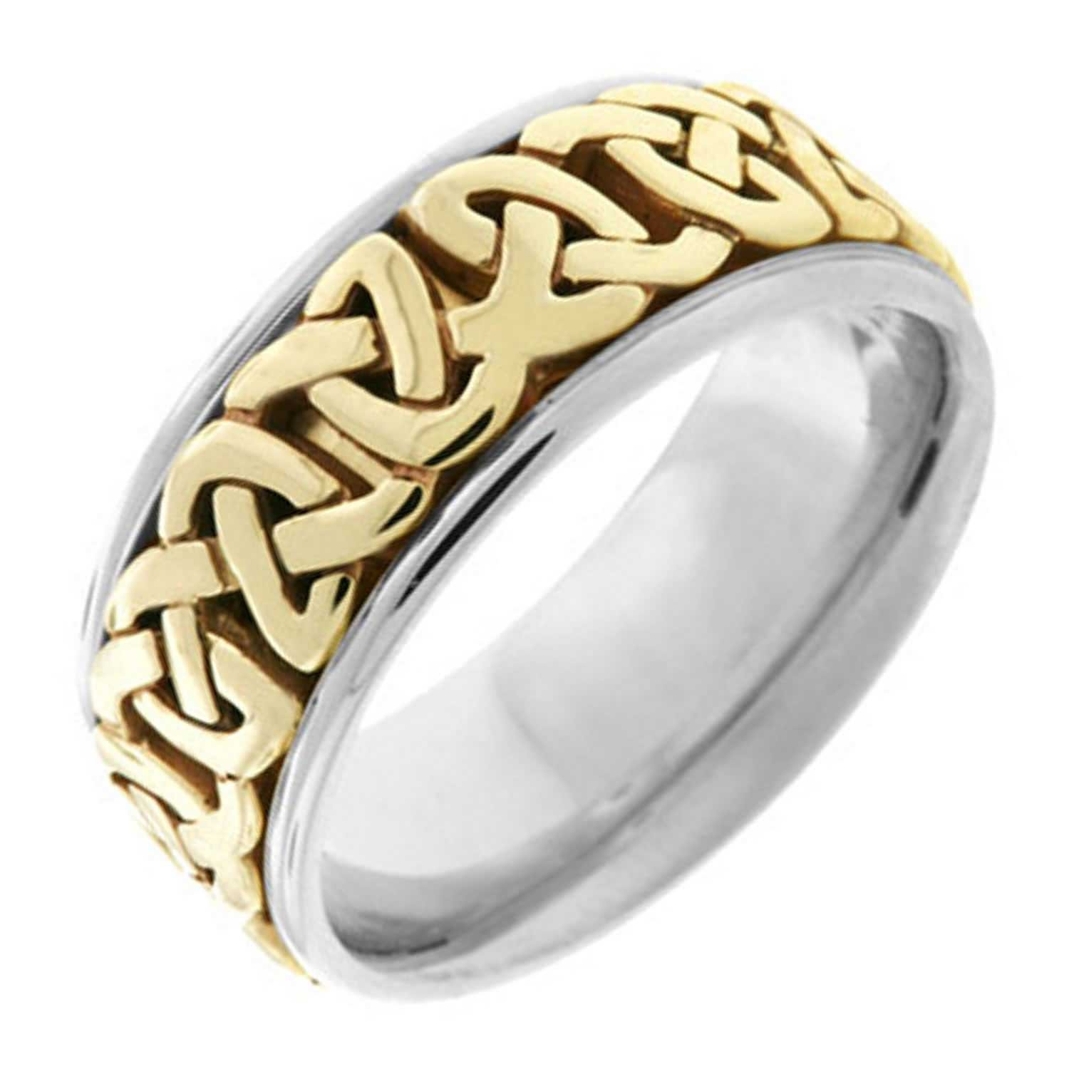 Two Tone Platinum and 18K Yellow Gold Celtic Love Knot Men's Wedding Band (8.5mm) Size-13.75c2