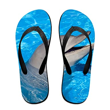 Unisex Summer Amazing Dolphin Beach Slippers Home Flip-Flop Flat Thong Sandal Shoes