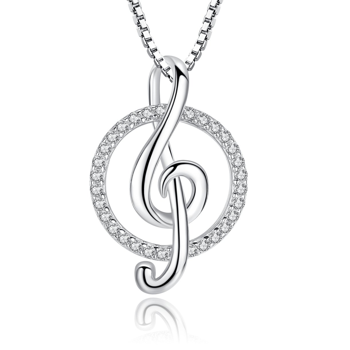 Greendin Sterling Silver Musical Note Necklace Pendant CZ Jewelry Women Girls, 18'' (cicle)