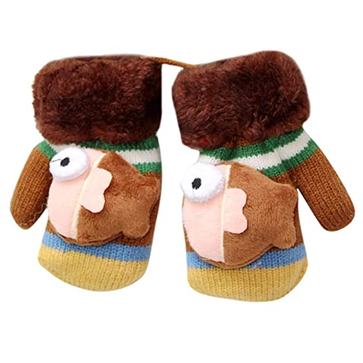 TM TM Little Kids Winter Gloves,Jchen Toddler Baby Thicken Girls Boys Rope Full Finger Warm Knitted Mittens Gloves for 0-3 Y Jchen Toddler Baby Thicken Girls Boys Rope Full Finger Warm Knitted Mittens Gloves for 0-3 Y Navy