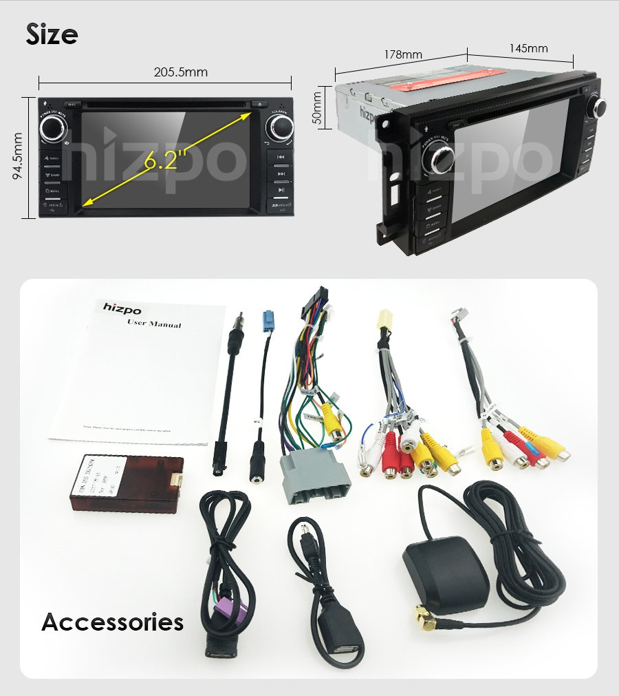 Hizpo Car Stereo Gps Dvd Player For Dodge Ram Challenger Wiring Harness Amazoncom Wire Jeep Wrangler Jk Head Unit Single Din 62 Touch Screen Indash Radio Receiver With