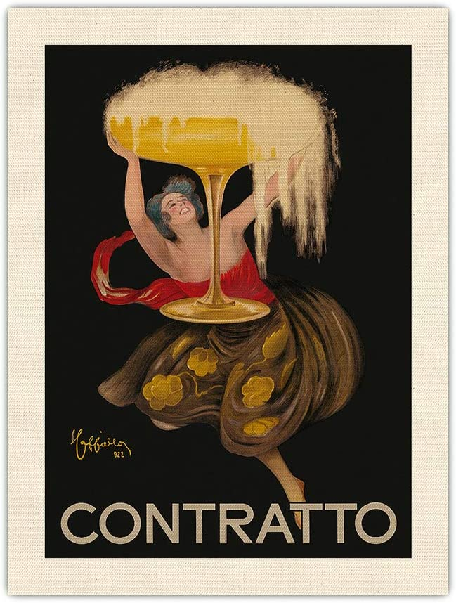 Contratto - Italian Sparkling Wine Champagne - Belle Époque Art - Vintage Advertising Poster by Leonetto Cappiello c.1922-100% Pure Silk Dupioni Fabric Print 18 x 24in