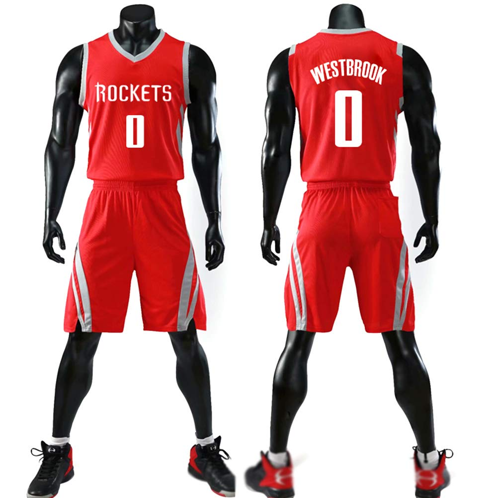 Russell Westbrook # 0 Jersey Shorts per bambini giovani Uomo Unisex Maglia Lettere ricamate Basket Swingman Jersey Set senza maniche Houston Rockets No.0 Jersey