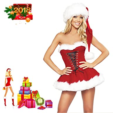 Greatlevel Women's Sexy Red Christmas Outfit Customes Naughty Sweet Santa  Dress Lingerie (Santa Dress) - Amazon.com: Greatlevel Women's Sexy Red Christmas Outfit Customes