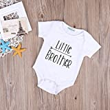 Little Brother Print Arrow Pattern Romper, White