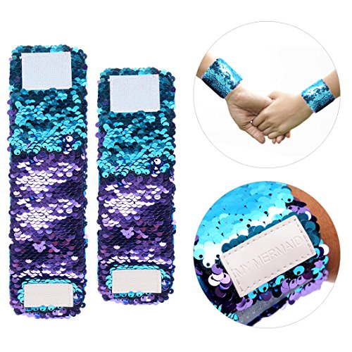 Shine Bangle Watches (2 Size Magic Mermaid Reversible Sequin Bracelet Purple Blue)
