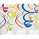 """amscan Swirl (12ct) Party Decorations, 22"""", Multicolor"""