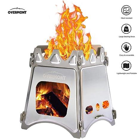 Overmont Estufa de Hornillo Madera Estufa de Acero Inoxidable Cualquier Combustible Portátil para Cocinar al Aire