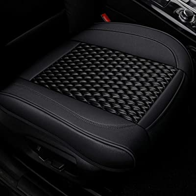 Luxury PU Leather Car Seat Cushion Front Seat Cover Bottom Protector,Fit for More Than 90% Cars, 1 Piece (21.02×20.62 Inches) (Black): Automotive