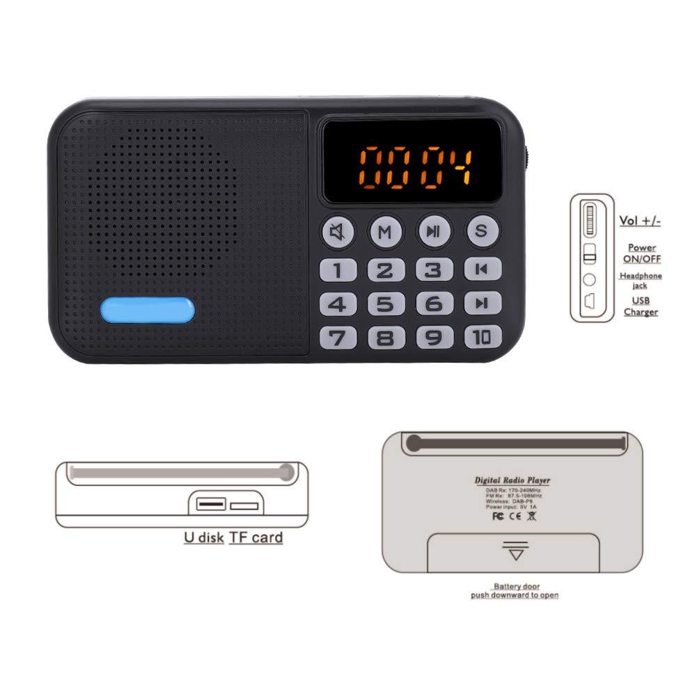 FM Radio Bluetooth Receptor Protable Pocket Stereo TF 32G con bater/ía Dab Radio Digital Dab