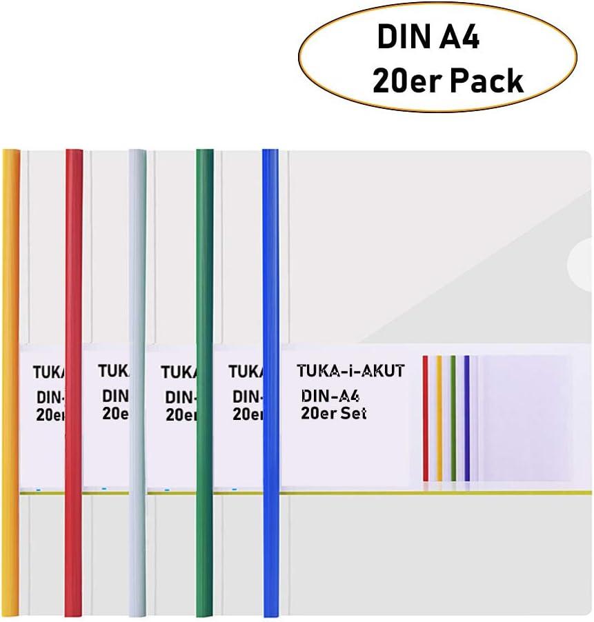 TKD8040-blue-20x Lot de 20 Bleu TUKA-i-AKUT 20x A4 Dossier Coulissante Transparent Chemise de Couvertures de Rapports Rapport Daffichage Couverture Organisateur Reliure Barre Coulissante