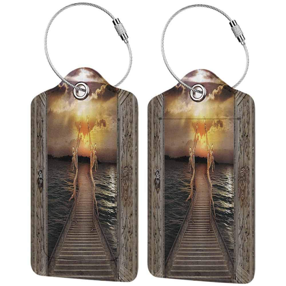 Small luggage tag Fantasy Decor Gaze toward Heavens with Two Angels Dancing Dream Mystic Lands Fairy Image Quickly find the suitcase Taupe Golden W2.7 x L4.6