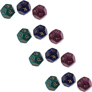 12 Pedazos Dados Poliedros Rojo Verde Azul para Juegos de Mesa Juegos de Tablero: Amazon.es: Juguetes y juegos