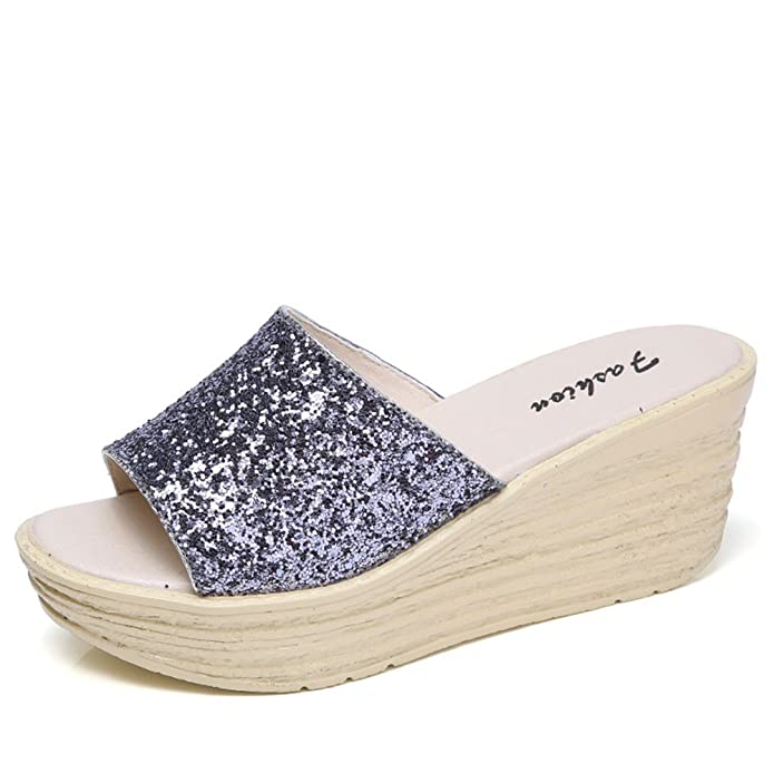 Women's Casual Wedge Flip Flops Summer Non-Slip Slope Sandals Fashion Sequin Decoration