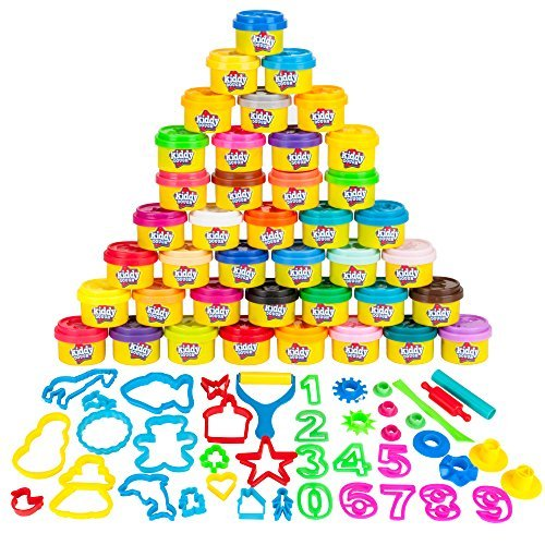 KIDDY DOUGH 40 Pack of Birthday Party Favors Bulk Dough & Clay Pack - Includes Molded Animal Shaped Lids + 40 Shapes & Numbers Dough Tools - Holiday Edition - (1oz Tubs - 40oz Total), Multi Color]()