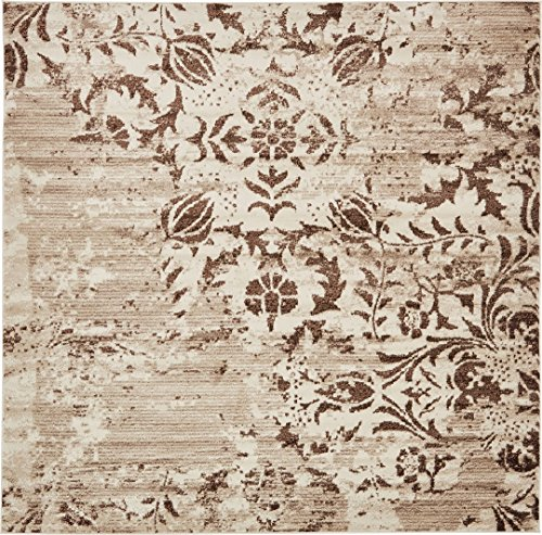 Modern Vintage Inspired Area Rugs Chocolate Brown 8' x 8' FT Himalaya Collection Rug - rugs for living room - rugs for dining room & bedroom - Floor Carpet ()