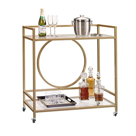 Sauder 417828 International Lux Bar Cart, Glass Satin Gold Finish