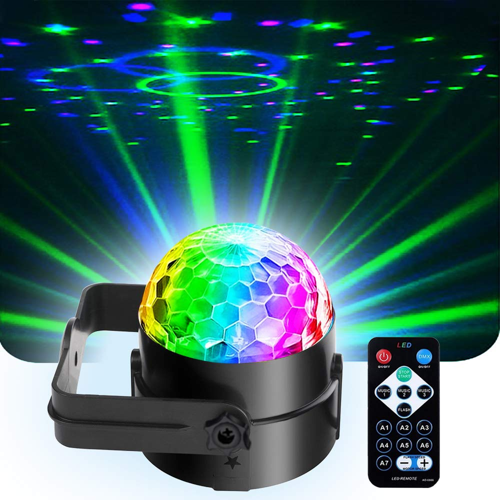 Mini Dj Disco Ball Party Stage Lights Sbolight Led 7Colors Effect Projector Karaoke Equipment for Stage Lighting With Remote Control Sound Activated for Dancing Christmas Gift KTV Bar Concert Birthday by SPOOBOOLA