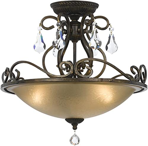 Crystorama 5010-EB-CL-MWP Crystal Accents Three Light Ceiling Mount from Ashton collection in Bronze Darkfinish,