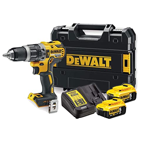 DeWalt Akku-Schlagbohrschrauber (18 V, 5 Ah, mit LED-Arbeitslicht, bürstenlose Motor-Technologie, zwei-Gang-Vollmetallgetriebe, inkl. 2x Akkus, System-Schnellladegerät und Tstak-Box), DCD796P2