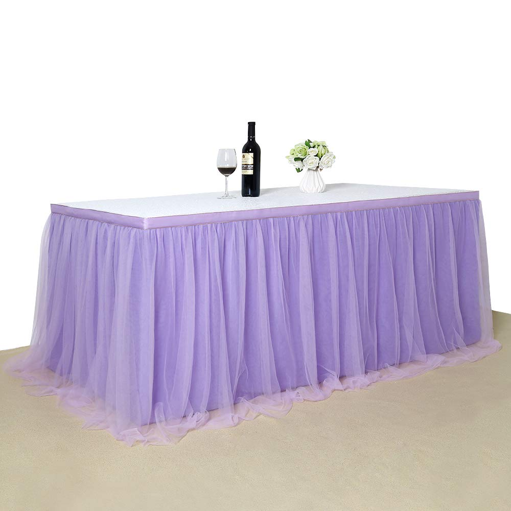 B-COOL Lovely Light purple Tulle Tutu Table Skirt 4.5 yards Tulle Table Cloth Skirt Customized Romantic Girl Princess Birthday Party Table Skirts Banquet Table Decorations(L14(ft) H 30in) by B-COOL (Image #4)