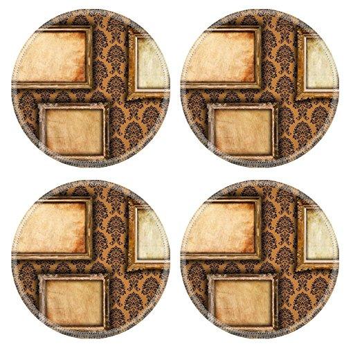 Liili Round Coasters IMAGE ID 9094838 Gilded frames on vintage damask style wallpaper background and grunge retro paper inserts (Antique Gilded Frames)