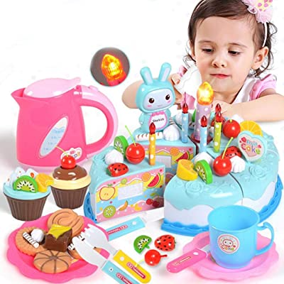 Blenko Pretend Play Cake for Kids, DIY Cutting Birthday Party Cake Toys Set, Early Educational Kitchen Toy for Children, Pink: Toys & Games