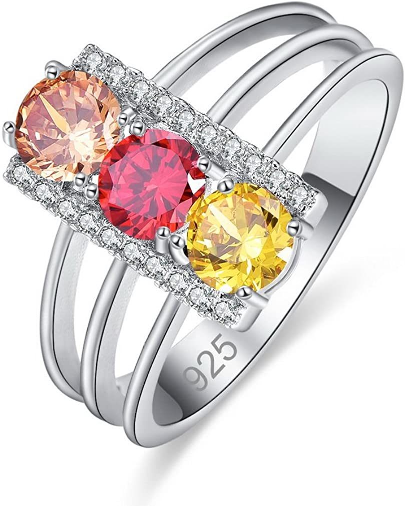 YAZILIND Promise Ring 3 Filas Hollow Colorful Cubic Zirconia Platinum Rhinestone Plated Wedding Compromiso para Mujeres