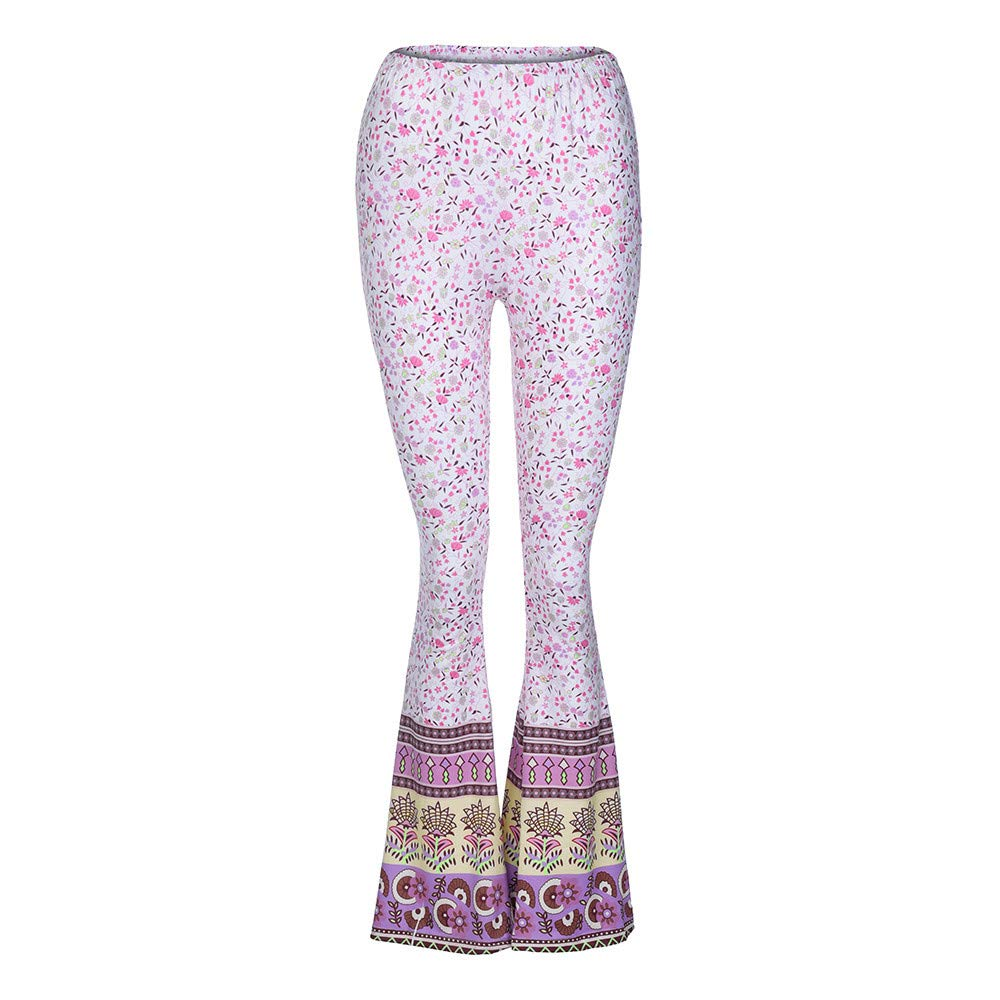 Pant For Women, Pervobs Womens Casual High-Waist Floral Print Sports Bell-bottoms Harem Yoga Wide Leg Pants(XL, Pink)