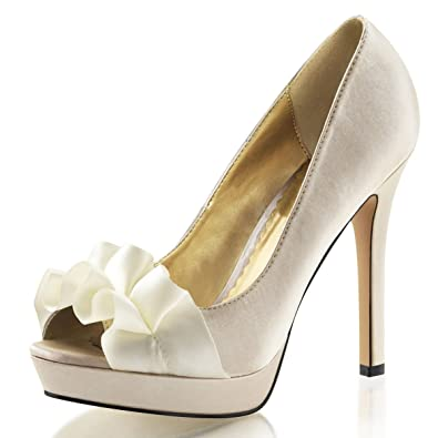 a67b5a462201 Amazon.com | Summitfashions Womens High Heels Platform Pumps Peep Toe Shoes  Pleated Ribbon 4 3/4 Inch Heels | Pumps